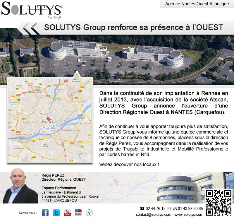 SOLUTYS Group annonce l'ouverture d'une Direction Régionale Ouest à NANTES (Carquefou)